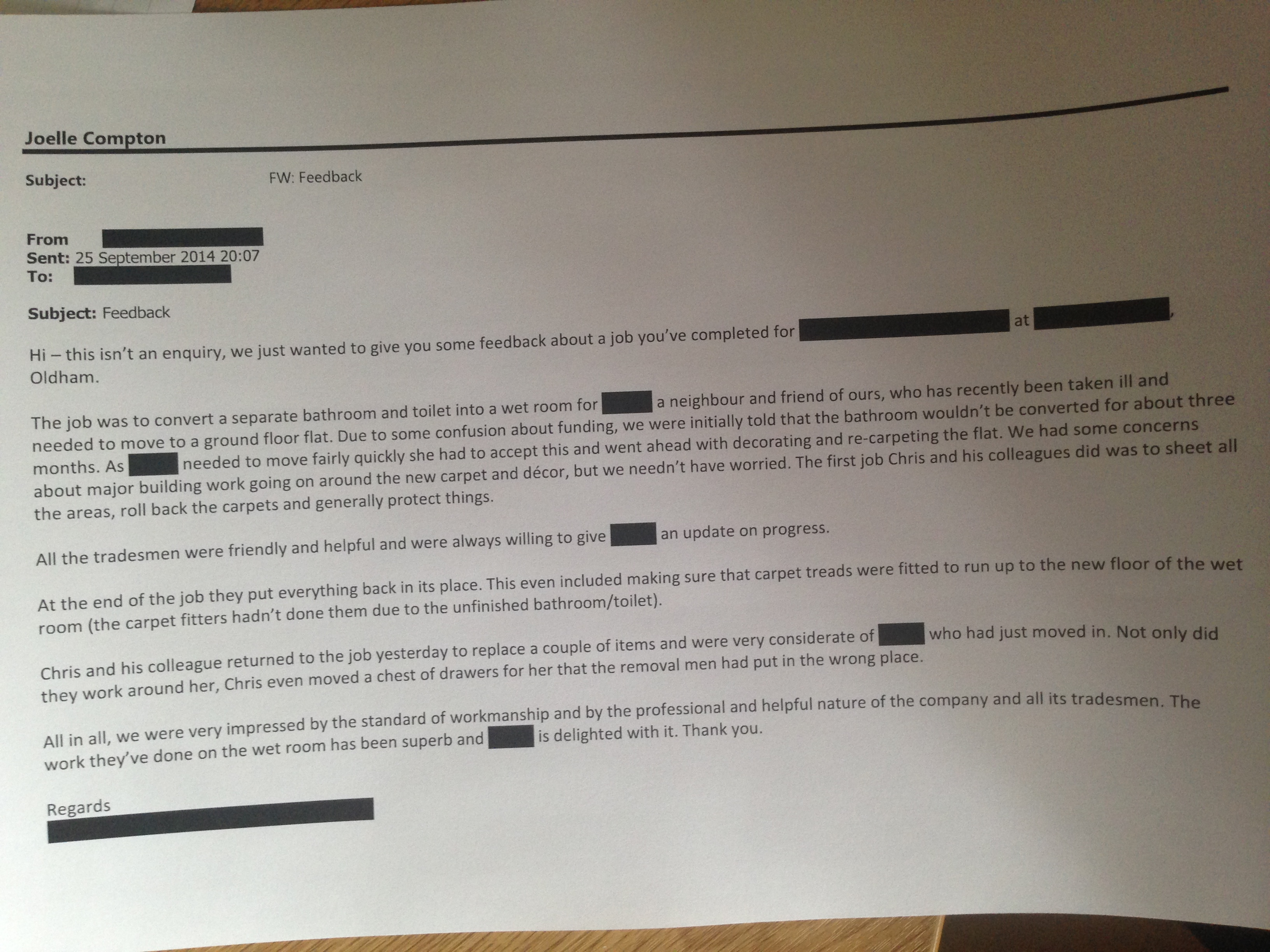 Customer Feedback Letters  HO Manchester
